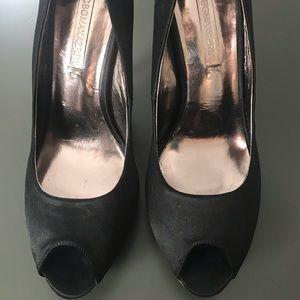 Black Satin Peep Toe Heels
